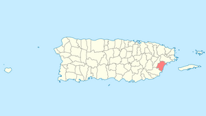 Location of Humacao in Puerto Rico