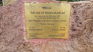 Plaque commemorating the opening of the age of fishes museum canowindra nsw