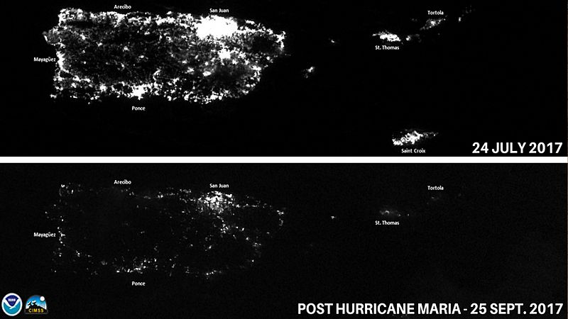 Puerto Rico at night before and after Hurricane Maria