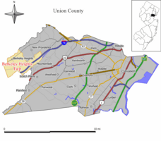 Map of Berkeley Heights in Union County. Inset: Location of Union County highlighted in the State of New Jersey.