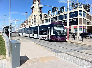Flexity 2 (Blackpool) tram at Tower tram stop