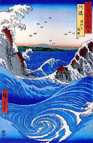 Hiroshige Wild sea breaking on the rocks