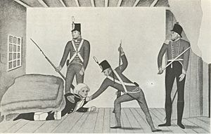 The arrest of Bligh propaganda cartoon from around 1810