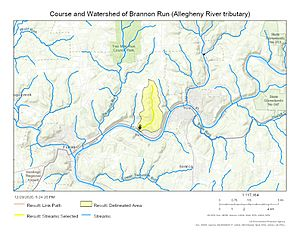 Course and Watershed of Brannon Run (Allegheny River tributary)