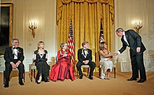 President George W. Bush congratulates Tina Turner at the Kennedy Center Honors