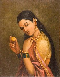 Raja Ravi Varma - Woman Holding a Fruit - Google Art Project