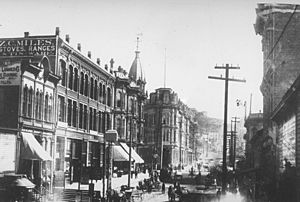Seattle - looking east on Yesler Way, 1887