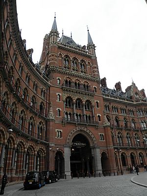 St Pancras International station and St Pancras Hotel exterior 2012 04