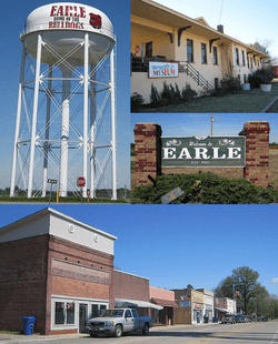 "Clockwise from top: Crittenden County Historical Museum, Earle welcome sign, downtown Earle along US 64B, ""Home of the Bulldogs"" water tower"