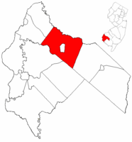 Pilesgrove Township highlighted in Salem County. Inset map: Salem County highlighted in the State of New Jersey.