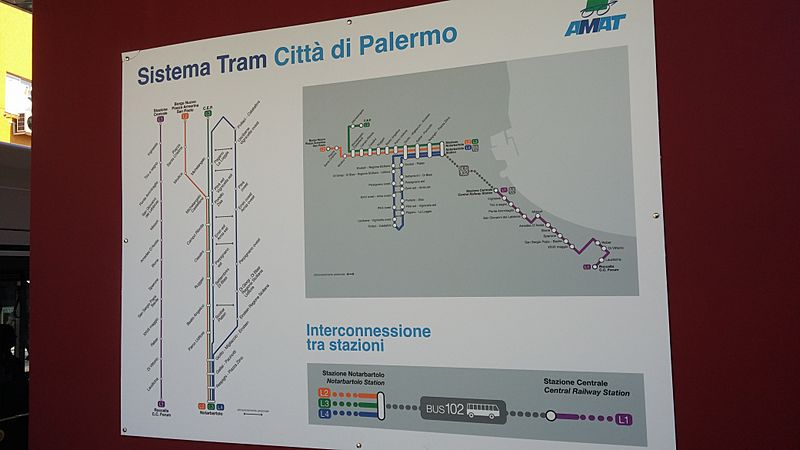 Palermo Tramway System Map