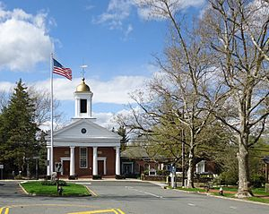 Street scene cropped Basking Ridge New Jersey with trees and church