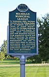 Michigan Municipal League historical marker Ann Arbor Michigan.JPG