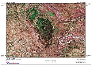 Shaded relief map of Black Hills, SD, Topographic-NatAtlas-BHills-SD