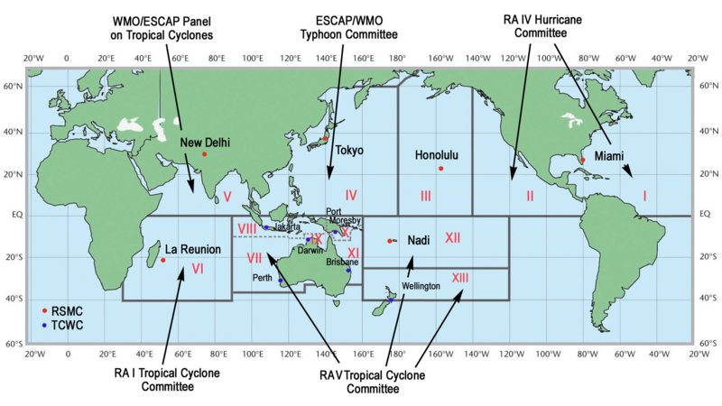 Tropical Cyclone Centers and Regions