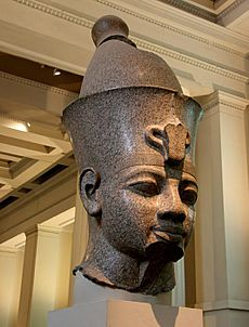 England; London - The British Museum, Egypt Egyptian Sculpture ~ Colossal granite head of Amenhotep III (Room 4).2