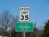 Frohna, Missouri, road sign