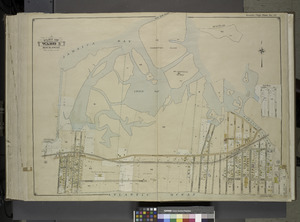 Queens, Vol. 1, Double Page Plate No. 35; Part of Ward 5; Rockaway; (Map bounded by Jamaica Bay, Charmttoir Island, Mc. Caffertys Island, Nortons Creek, Hudson Ave., Columbus Ave., Rochester NYPL1693878f