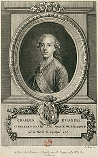 Charles Emmanuel IV of Sardinia while Prince of Piedmont