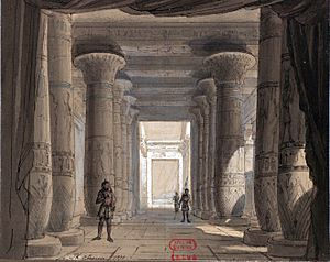 Set design by Philippe Chaperon for Act1 sc2 of Aida by Verdi 1871 Cairo - Gallica (adjusted)