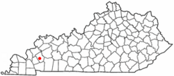 Location of Princeton, Kentucky
