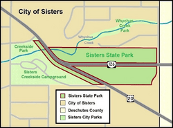 Sisters State Park map (Oregon)