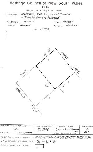344 - Narrabri Gaol and Residence - PCO Plan Number 344 (5045707p1)