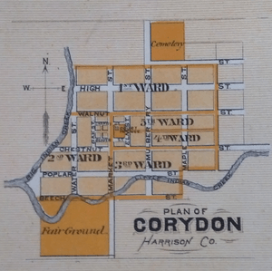 Map of Corydon, Indiana from 1876 atlas