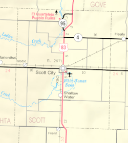 KDOT map of Scptt County (legend)