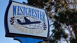"""Westchester, Home of LAX"" sign at Westchester Rec Center"