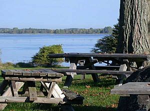 Picnic tables along the Saint Lawrence River in Robert Moses State Park - Thousand Islands in northern New York.jpg