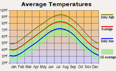 Average monthly temperature for Little Rock, Arkansas