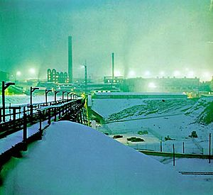 Bunker Hill smelter operating in winter snow, 1970s