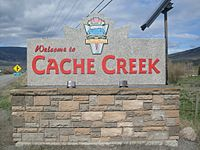Cache Creek's welcome sign