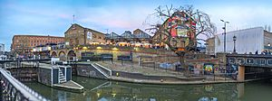 Camden Lock panorama at sunset
