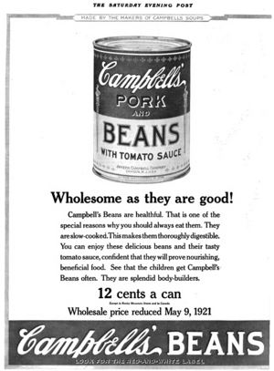 Campbell bean advert in Saturday Evening Post 1921