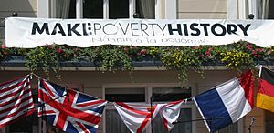 Make Poverty History banner 2005 Jersey