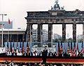 Photograph of President Reagan giving a speech at the Berlin Wall, Brandenburg Gate, Federal Republic of Germany - NARA - 198585