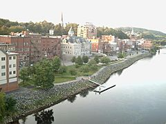 Kennebec River flowing past downtown Augusta in September 2006