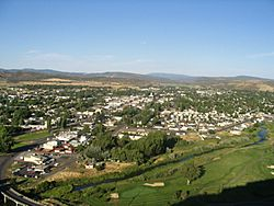 Panorama of Prineville in Crook County, and the Ochoco Mountains.