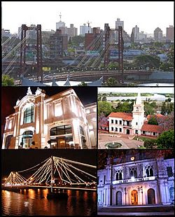 (From top to bottom; from left to right) Panoramic view of the city; Municipal Theatre; Plaza Las Tres Culturas; Puente Colgante at night and the National University of the Littoral.