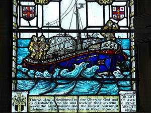 Lifeboat in stained glass