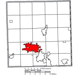 Location of Warren in Trumbull County