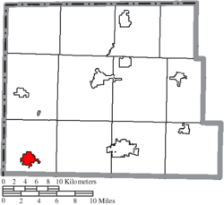 Location of Edgerton in Williams County
