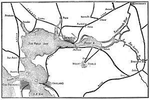 Map of railroad connections to Benicia and the San Francisco Bay area 1885