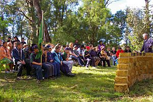 "Members of Scouts Australia from several groups attending ""Scouts Own"" in camp"