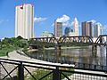 View of Downtown Columbus Ohio OH from North Bank Park Pavillion on Scioto River