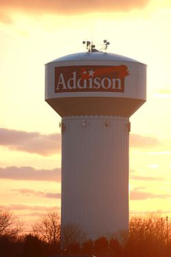 The Addison water tower