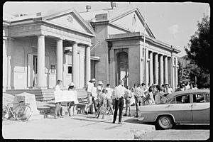 Student Action for Aborigines protest outside Moree Town Hall and Council Chambers, February 1965 - The Tribune (20205921174)