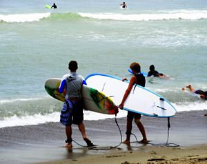 Doheny Beach surfers